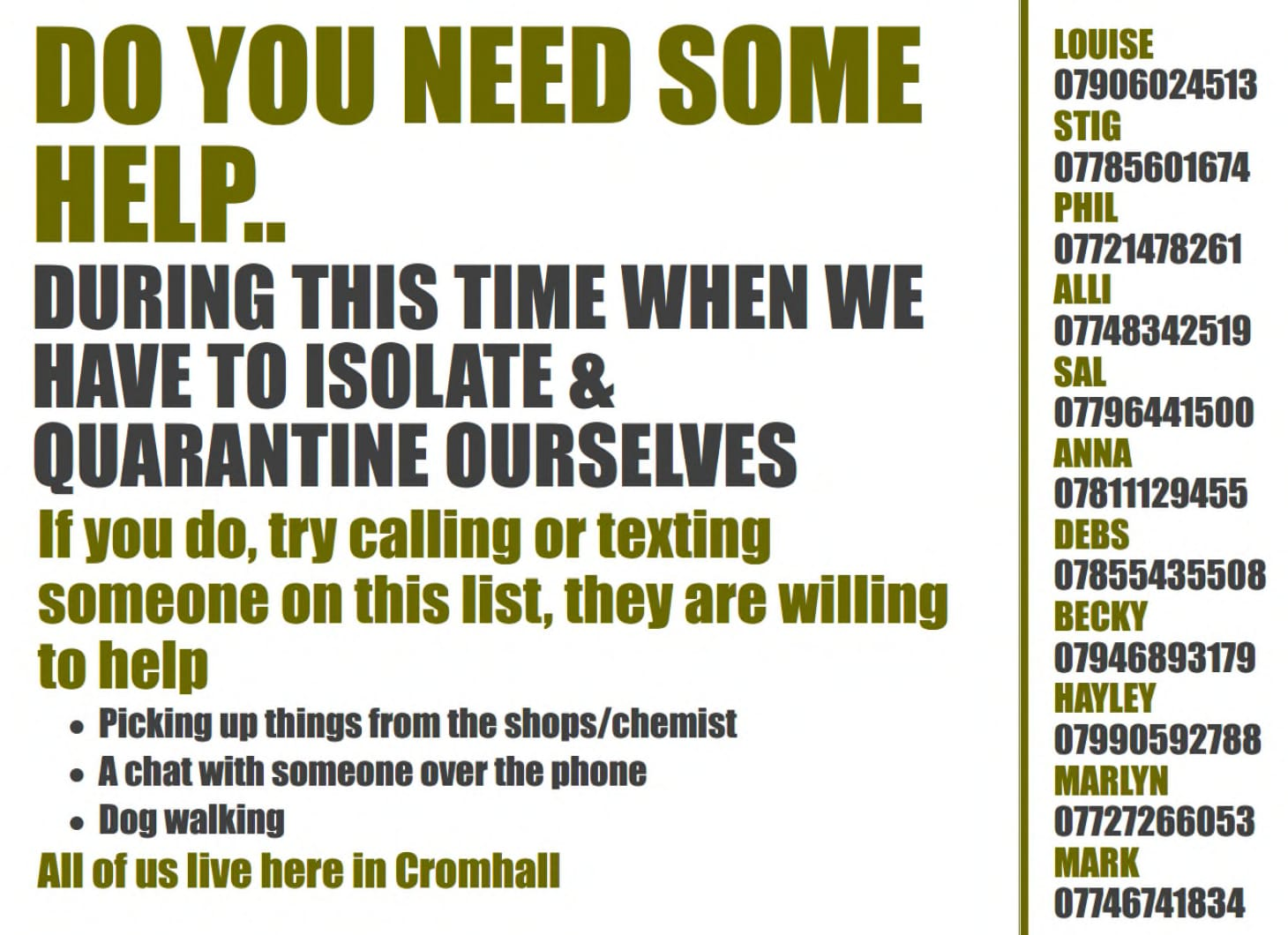 Information on help available in Cromhalll during Covid-19